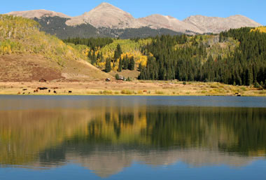 View to Holy Cross Wilderness from Crooked Creek Reservoir.